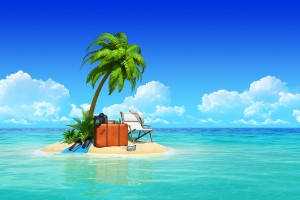 Desert tropical island with palm tree, chaise lounge, suitcase.